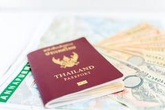 旅游业的泰国护照与安纳布尔纳峰地区尼泊尔地图和尼泊尔笔记 库存图片