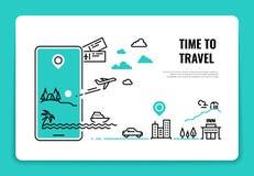 旅游业线概念 旅行目的地暑假旅行社旅馆网站飞机路线概念 浏览 向量例证