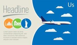 旅游业,旅行社海报 在蓝天的飞机 免版税库存照片