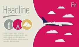 旅游业,旅行社海报 在紫色天空的飞机 免版税库存照片