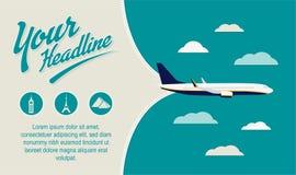旅游业,旅行社飞行物 印刷品的最好,网,社会媒介横幅 免版税库存照片