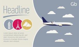 旅游业,旅行社飞行物 在灰色天空的飞机 免版税库存图片