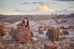 旅游化石森林国家公园,亚利桑那,美国 免版税图库摄影