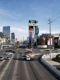 旅游区的看法在拉斯维加斯,内华达的主要大道的天 免版税库存照片