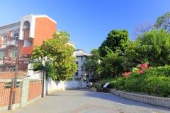 旅游参观gulangyu街道,多孔黏土rgb 库存图片