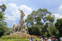 旅游参观wuyang石制品在yuexiu公园 免版税库存照片