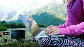 旅游妇女自由职业者使用一台计算机本质上并且坐草在气体火炬旁边 山被反射  股票视频