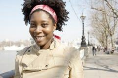 旅游妇女画象在伦敦。 图库摄影