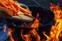 旅游常礼帽用在篝火的食物,烹调在远足,室外活动 肉饭的准备 库存图片