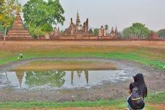 旅游拍摄的Wat Mahathat 历史公园 Sukhothai 泰国 图库摄影