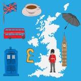 旅游概念-英国标志,画在铅笔 英国国旗旗子,大本钟,皇家卫兵,一杯茶,伞,伦敦公共汽车, poli 库存例证