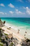 旅游海滩在Tulum 库存图片