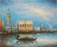 旅游采取的长平底船乘驾在威尼斯意大利-油画 库存照片