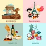 巴黎旅游集合 向量例证