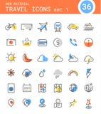 旅行、旅游业和天气线性象,集合1 免版税库存图片