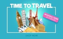 旅行与折扣的电视节目预告横幅 时刻旅行激动人心的电视节目预告海报 也corel凹道例证向量 皇族释放例证
