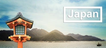 旅行与木lanthern的日本横幅 库存图片
