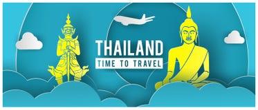 旅行与特价进行文本和泰国著名地标的电视节目预告横幅在纸艺术设计 库存图片