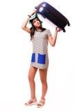 旅行与行李的假期概念在白色 免版税图库摄影