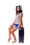旅行与行李的假期概念在白色 免版税库存照片