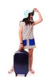 旅行与行李的假期概念在白色 库存照片