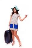 旅行与行李的假期概念在白色 图库摄影