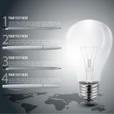旅行与infographic元素和世界地图,传染媒介工作的logoaLight电灯泡 免版税库存照片