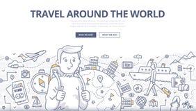 旅行世界乱画概念 免版税图库摄影