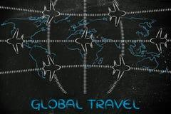 旅行业:飞机和空中交通在世界地图 免版税图库摄影