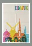 旅行丹麦地标地平线葡萄酒海报 库存例证