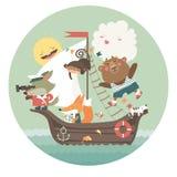 旅行乘在海的船的逗人喜爱的动物 免版税图库摄影