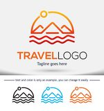 旅行传染媒介商标设计模板 免版税库存照片