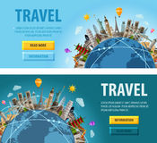 旅行传染媒介商标设计模板 假期或 库存例证