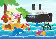 旅行例证-有棕榈树的海岛在船、海豚和明亮的太阳的背景的海 免版税库存照片