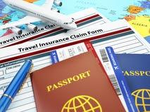 旅行保险申请表、护照和飞机在 库存图片