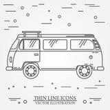 旅行公共汽车家庭露营车变薄线 旅客卡车游览车概述象 RV旅行公共汽车灰色和白色传染媒介图表孤立 免版税库存图片