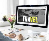 旅行冒险网站互联网博克网上概念 库存照片
