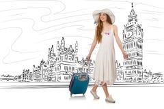 旅行到伦敦的少妇在英国 免版税库存照片