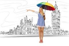 旅行到伦敦的少妇在英国 库存照片