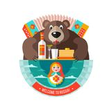 旅行到俄罗斯 欢迎光临俄罗斯 传染媒介例证iso 免版税库存照片