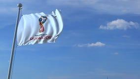 旅行到在挥动的旗子的俄罗斯的大商业飞机与2018年世界杯足球赛商标 4K社论动画 影视素材
