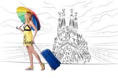 旅行到西班牙的少妇看sagrada familia 库存例证