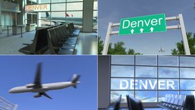 旅行向丹佛 飞机到达对美国概念性蒙太奇动画 股票视频