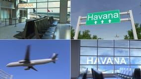 旅行向哈瓦那 飞机到达对古巴概念性蒙太奇动画 股票录像