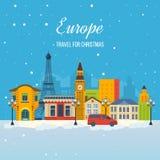 旅行向圣诞节的欧洲 看板卡圣诞节颜色设计快活编辑可能的问候 库存图片