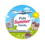 旅行向意大利 海滩formentera海岛妇女年轻人 在平的样式的圆的横幅 旅行在假期的时候乘飞机和火车 暑假 图库摄影