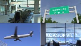 旅行向杰克逊维尔 飞机到达对美国概念性蒙太奇动画 股票录像