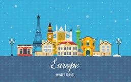 旅行向欧洲为冬天 快活的圣诞节 免版税库存图片