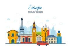 旅行向欧洲 法国人和英国地标 库存例证