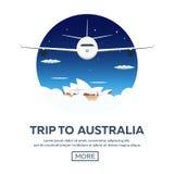 旅行向澳大利亚 悉尼 旅行的例证 现代平的设计 时刻旅行 向量例证